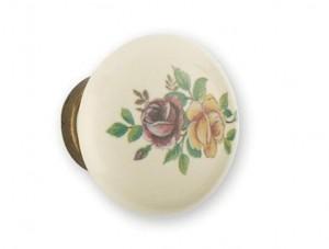 Bouton de porcelaine à fleur