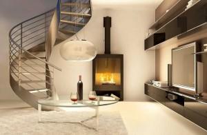 Salon avec cheminée et escalier moderne