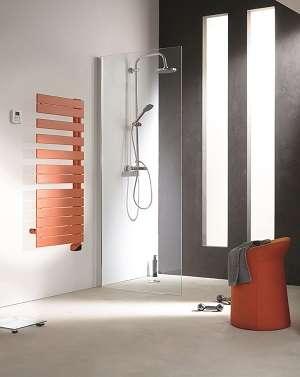 Radiateur salle de bain orange mural