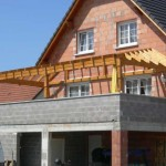 terrasse avec abri muret brique gris