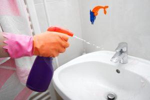 main de femme de ménage pulvérise du vinaigre