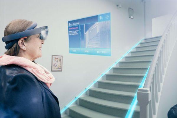 Thyssenkrupp Monte-escaliers installés à partir de modélisations 3D par lunettes de réalité augmentée