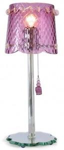 Lampe rose de cristal murano et pompons